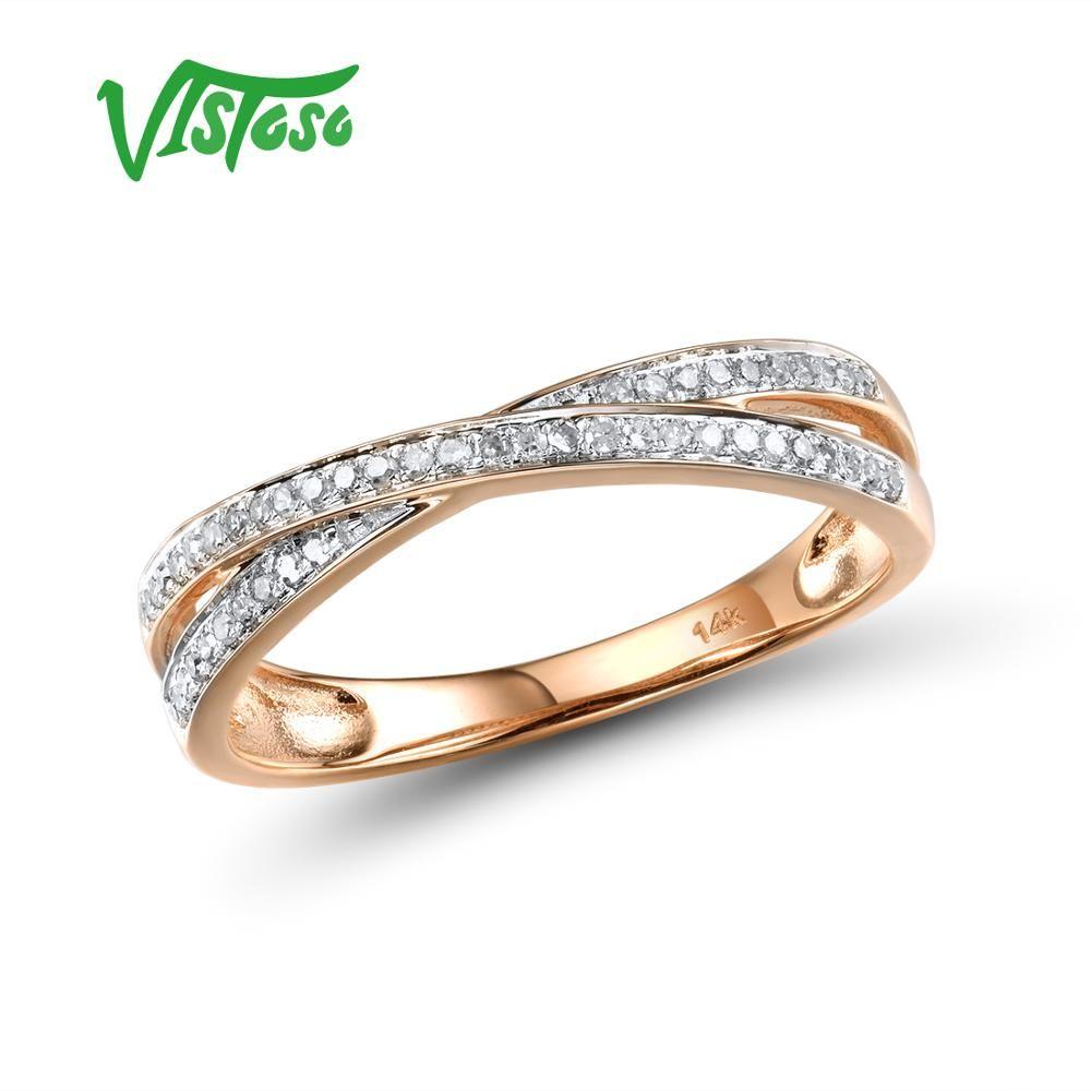 VISTOSO Echtem 14K 585 Rose Gold Funkelnden Diamant Zarte Ring Für Frauen Jahrestag Engagement Mode Trendy Edlen Schmuck