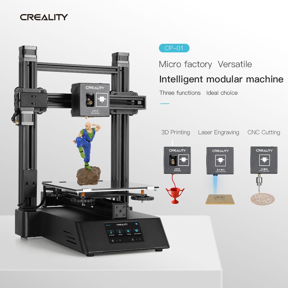 Neueste CP-01 3D drucker Laser Gravur CNC Schneiden Funktion 3 in 1 Touch Screen 3d Drucker Diy kit 5500mw creality 3D