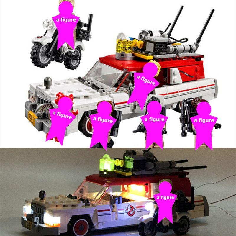 Ghostbusters Ecto 1 & 2 lumière LED blocs de construction Kits briques ensembles classique film modèle enfants jouets jouet pour enfants cadeau Marvel