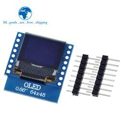 TZT 0.66 inch OLED Display Module for WEMOS D1 MINI ESP32 Module Arduino AVR STM32 64x48 0.66
