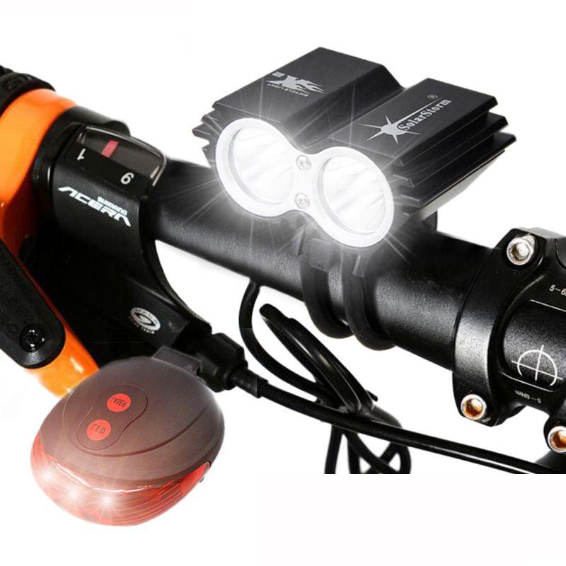 Lumière de vélo étanche 2 * T6 LED lumière de vélo 4 Modes vtt route avant vélo phare + avertissement de sécurité rouge Laser lampe arrière