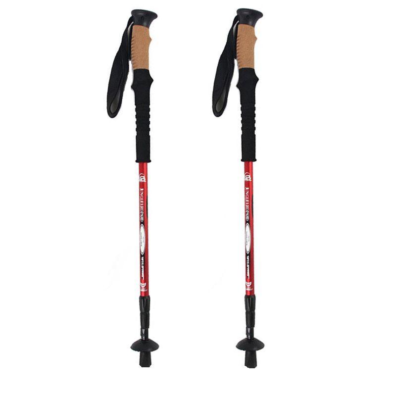 2 Pcs/lot bâtons de randonnée Anti choc bâtons de marche nordique télescopiques cannes de randonnée ultralégères avec protecteurs de pointe en caoutchouc