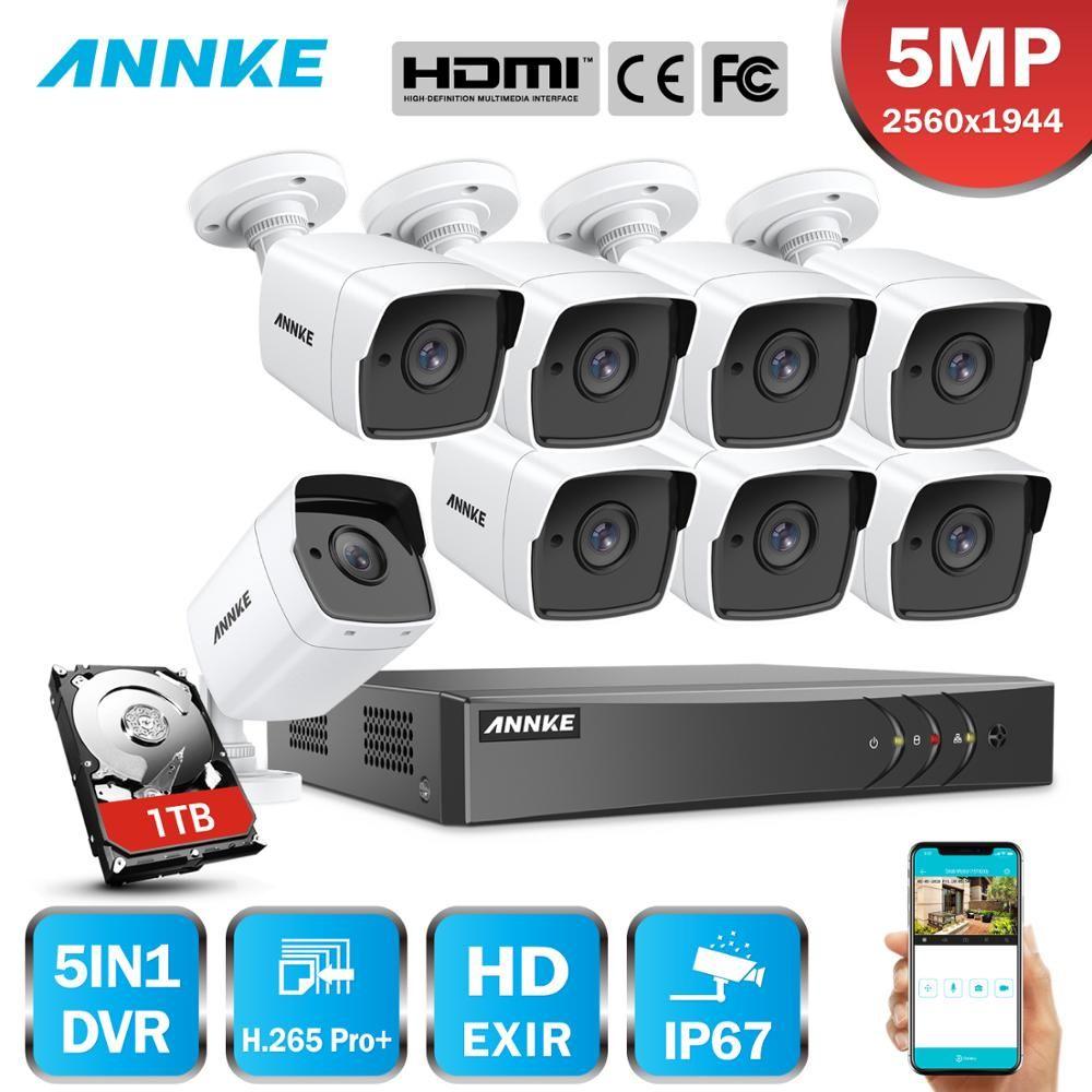 ANNKE 8CH 5MP Ultra HD Video Security System 5IN1 H.265 + DVR Mit 8X5 megapixel TVI Wetterfeste CCTV überwachung Kamera Kit Mit HDD