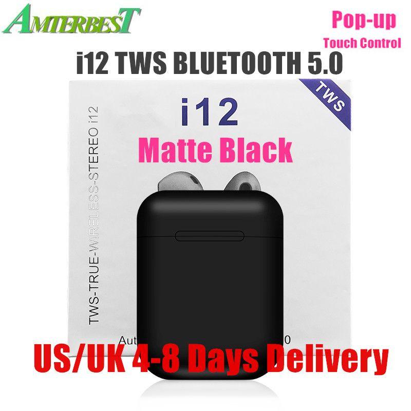 AMTERBEST I12 TWS Touch Control Mini Wireless Bluetooth 5.0 Earphones Stereo Headset Pk I10 I11 Tws for IOS Smart Phone