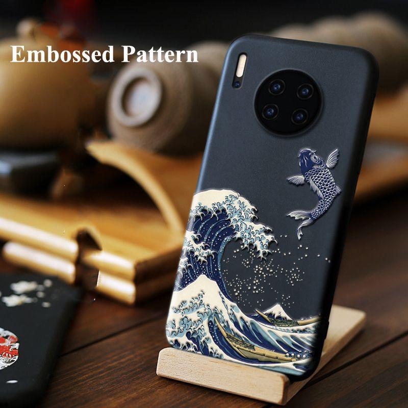 Pour Huawei Mate 30 Pro 20 Pro 20X étui 3D Relief mat couverture arrière souple pour Huawei Mate30 LICOERS étui officiel Fundas