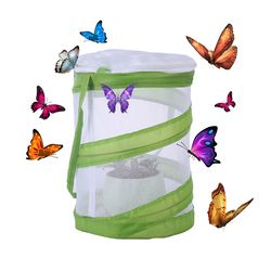 Butterfly and Insect Habitat Cage Butterfly Pavilion Mesh Terrarium Pop-up science educational toys - White + Green S size