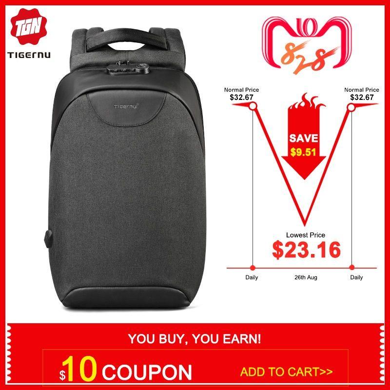 Pas de clé Anti-vol TSA Lock mode hommes sacs à dos 15.6 pouces USB charge ordinateur portable mâle Mochila 18L collège école sac à dos pour les garçons