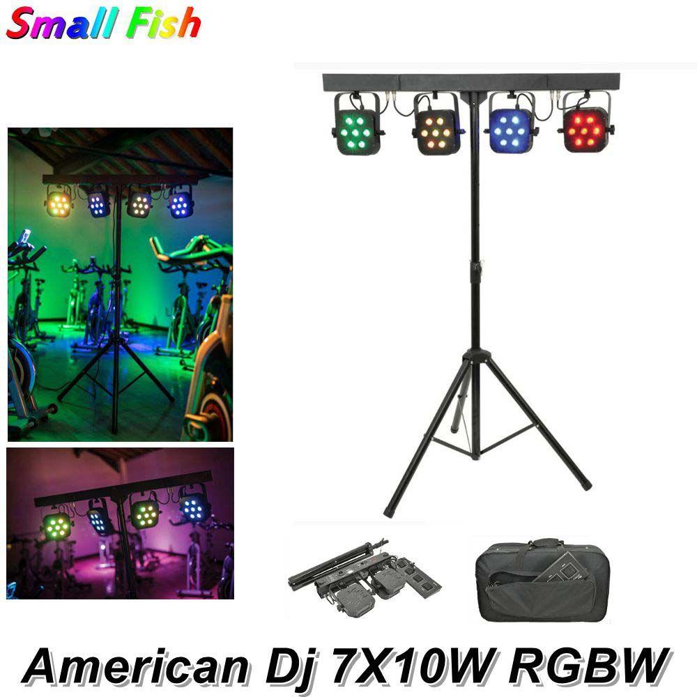 American Dj LED Par Kit 4Pcs 7X10W 4IN1 RGBW LED Slim Flache Par Licht Mit Licht stehen DMX Fuß Controller Tasche Paket Dj Lichter