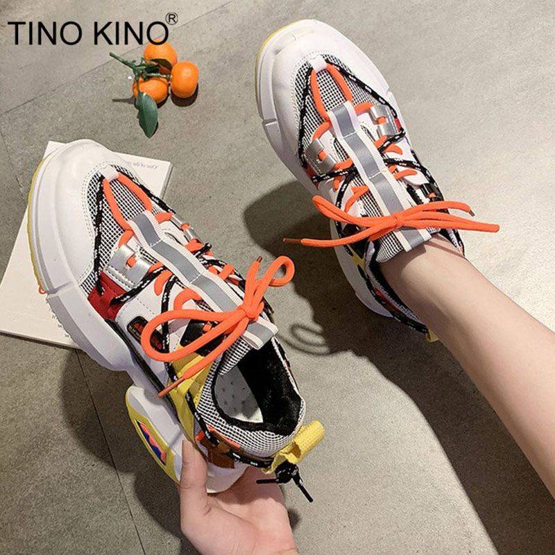 Women Mesh New Autumn Chunky Sneakers Ladies Flat Lace Up Platform Vulcanized Shoes Female Mixed Color Casual Footwear