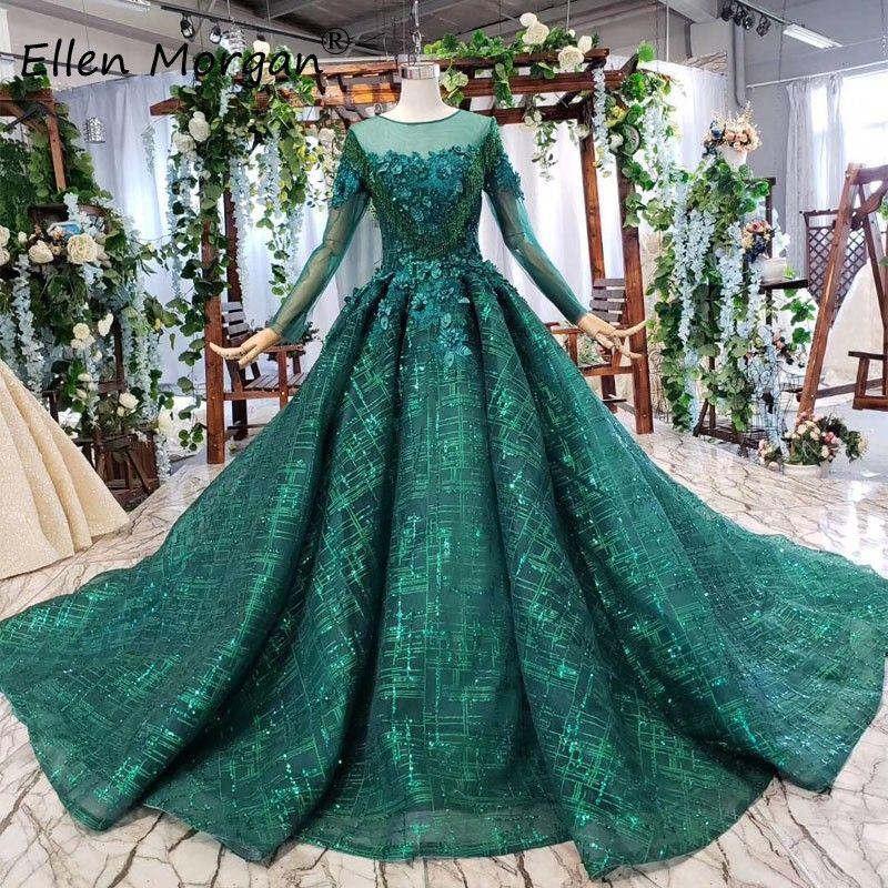 Glitter Dunkelgrün Hochzeit Kleider 2019 Spitze Perlen Elegante Langen Ärmeln Real Fotos Korsett Muslimischen Braut Ballkleider für Frauen