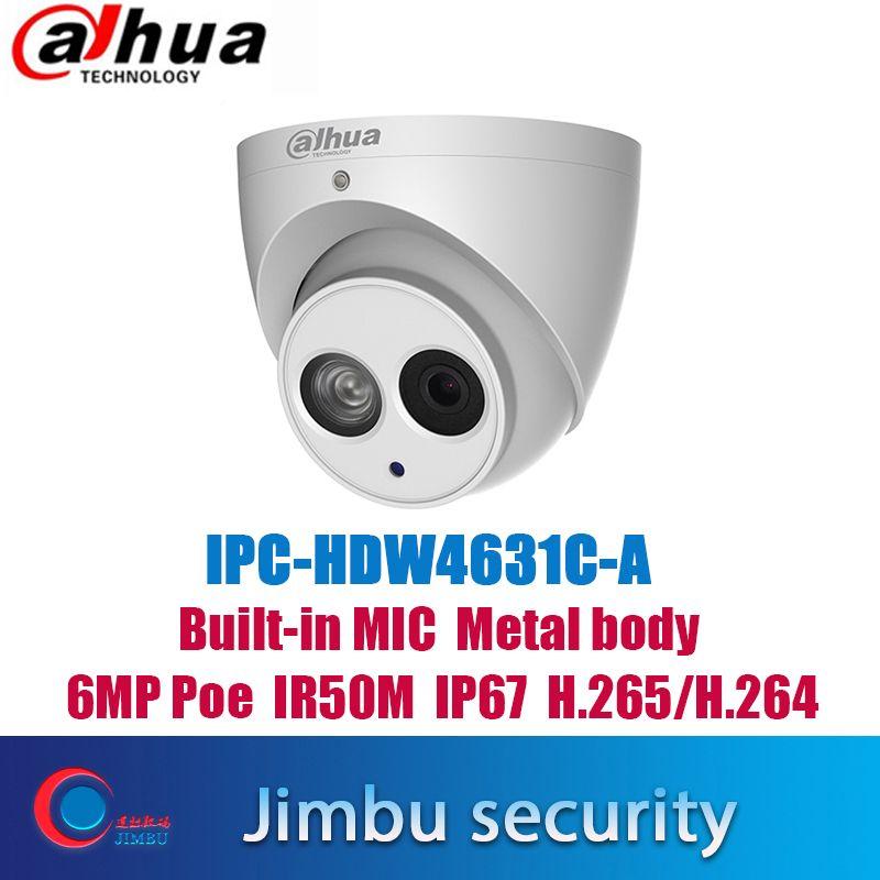 Dahua IPC-HDW4631C-A 6MP POE H.265 dôme IP caméra intégrée micHDW4433C-A 4MP IR sécurité cctv dôme caméra onvif multi-langue
