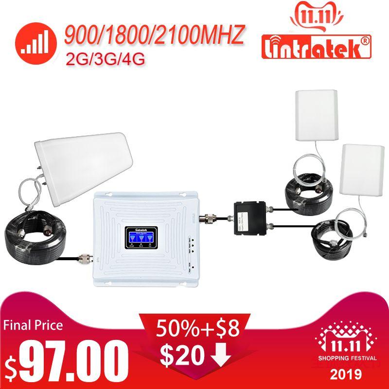 Lintratek Große Abdeckung Tri Band GSM 900 UMTS 2100 4G 1800 Mobile Signal Booster Zwei Innen Antennen Repeater Verstärker set #43