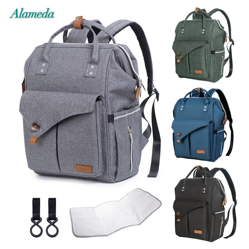 Alameda Fashion Mummy Maternity Bag Multi-function Diaper Bag Backpack Nappy Baby Bag with Stroller Straps for Baby Care