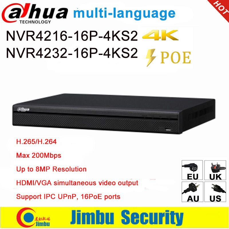 Dahua NVR 16 PoE 16CH 32CH Netzwerk Video Recorder NVR4216-16P-4KS2 NVR4232-16P-4KS2 1U ports 4K & H.265 Lite Bis zu 8MP Auflösung
