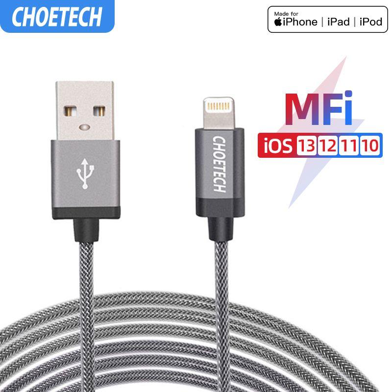 CHOETECH pour câble iPhone MFi 5 V/2.4A pour Apple vers USB 8P câble de charge rapide et de données pour iPhone X XS XS 7 7 Plus 5 5S 6S