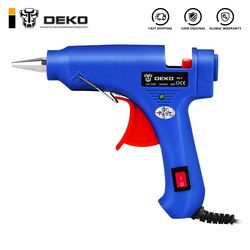 DEKO 20W EU Plug Hot Melt Glue Gun with 7mm Glue Stick Industrial Mini Guns Thermo Electric Heat Temperature Tool