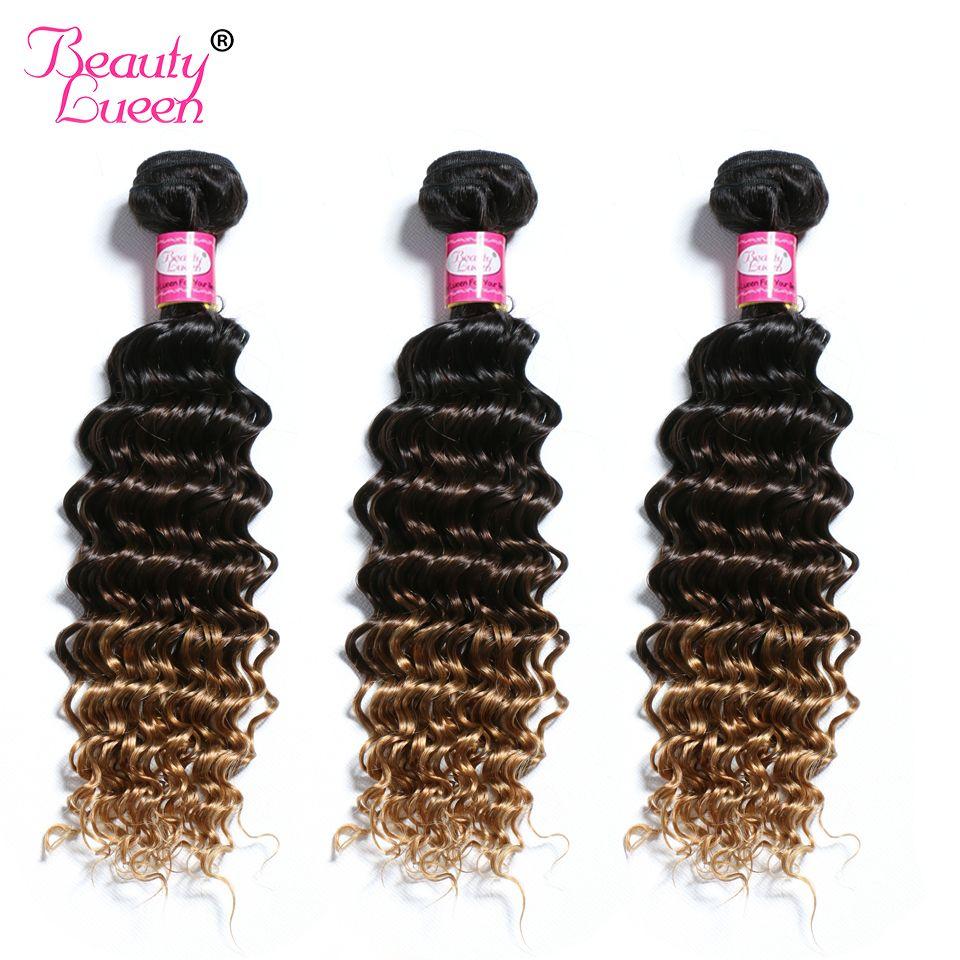 Ombre profonde vague brésilienne cheveux armure paquets T1B/4/27 cheveux humains trois tons Ombre cheveux 3 ou 4 paquets Non Remy