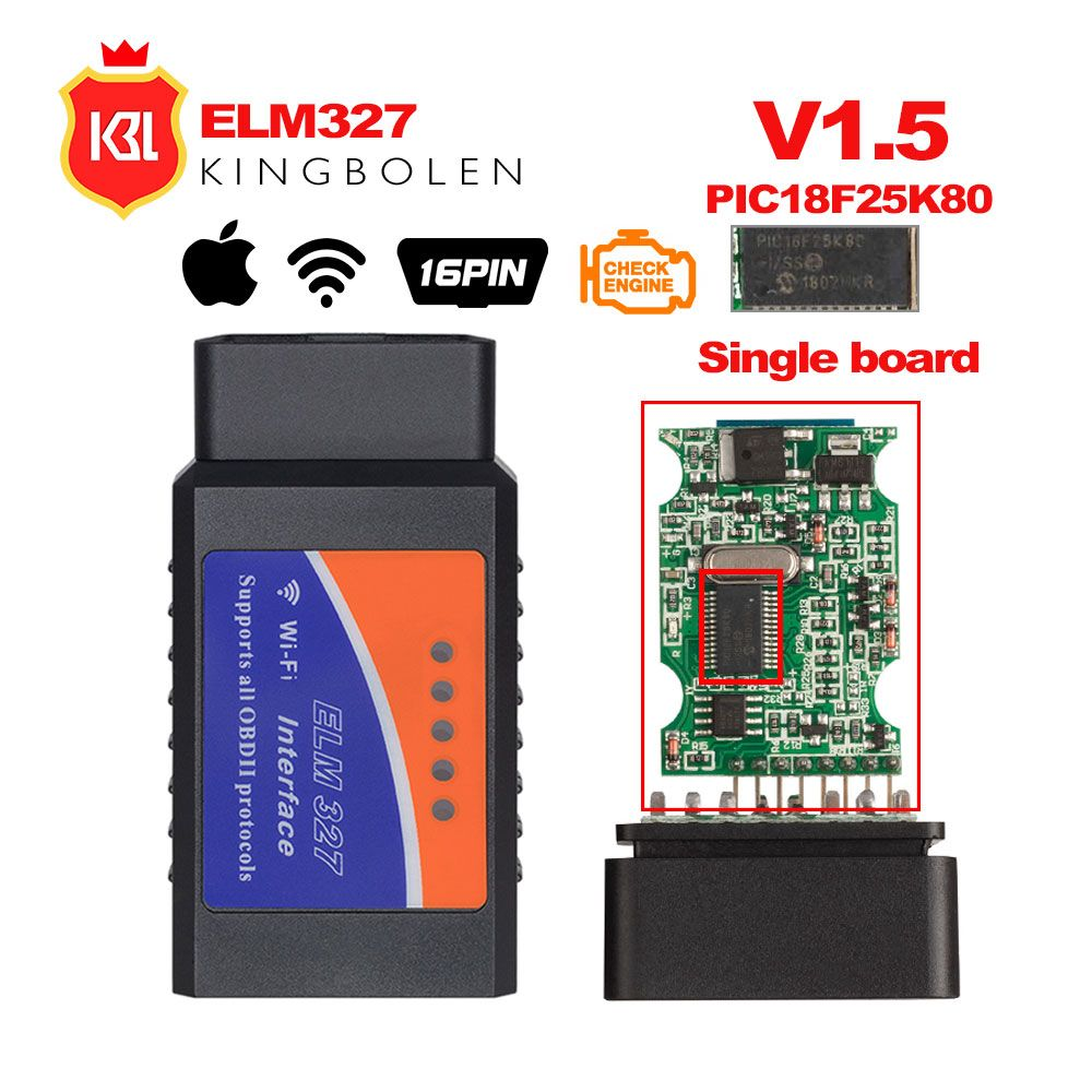 ELM327 V1.5 Bluetooth/Wifi OBD2 V1.5 orme 327 Bluetooth PIC18F25K80 puce OBD outil de Diagnostic automatique OBDII pour Android/IOS/Windows