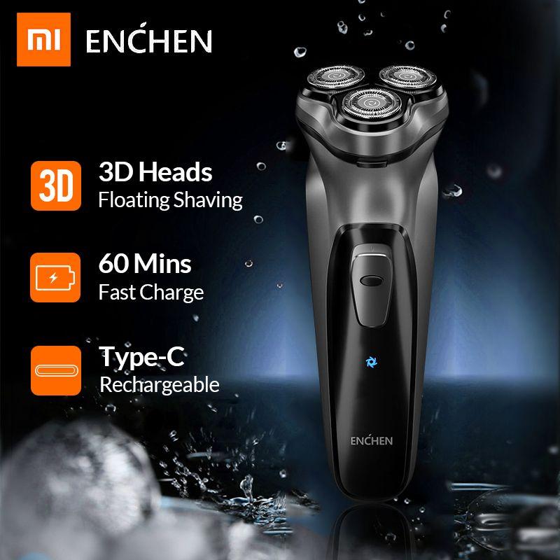 Xiaomi Enchen pierre noire 3D rasoir électrique rasoir pour hommes barbe tondeuse à cheveux USB type-c Rechargeable une lame Machine à raser
