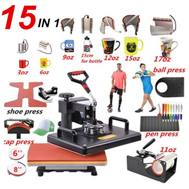 15 In 1 Combo Wärme stift Presse Maschine, sublimation Drucker/schuh Transfer Maschine Für Becher/Cap/T-shirt/Schuh/stift/schuh /ball