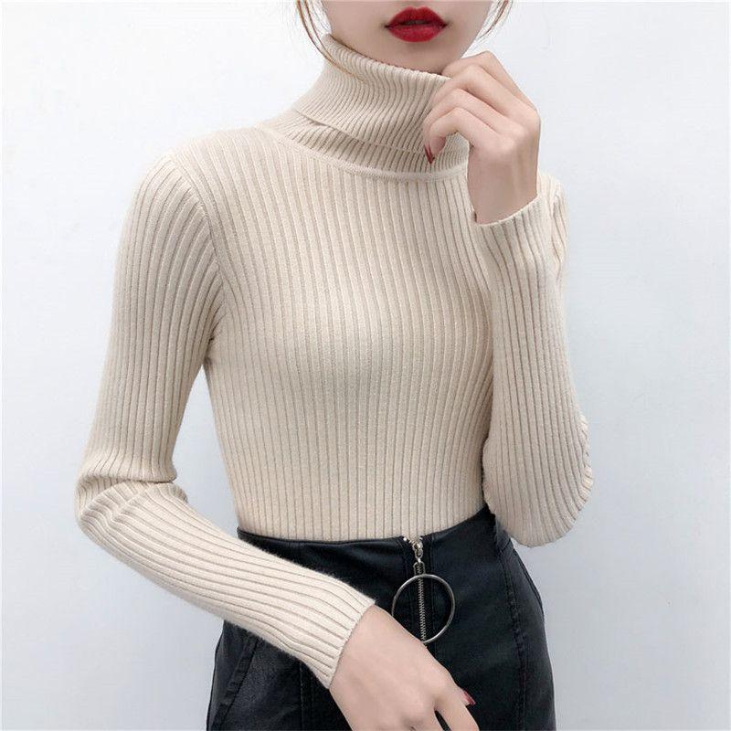 2019 femmes chandail décontracté solide col roulé femme pull à manches longues chaud doux printemps automne hiver tricoté coton