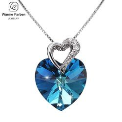 Warme Farben Kristal dari Swarovski Wanita Kalung Fine Perhiasan Biru Kristal Hati Liontin Kalung Hari Valentine Hadiah