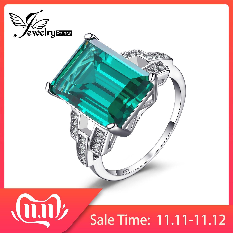 Bijourypalace 5.9ct créé Nano bague émeraude 925 en argent Sterling anneaux pour les femmes bague de fiançailles en argent 925 pierres précieuses bijoux
