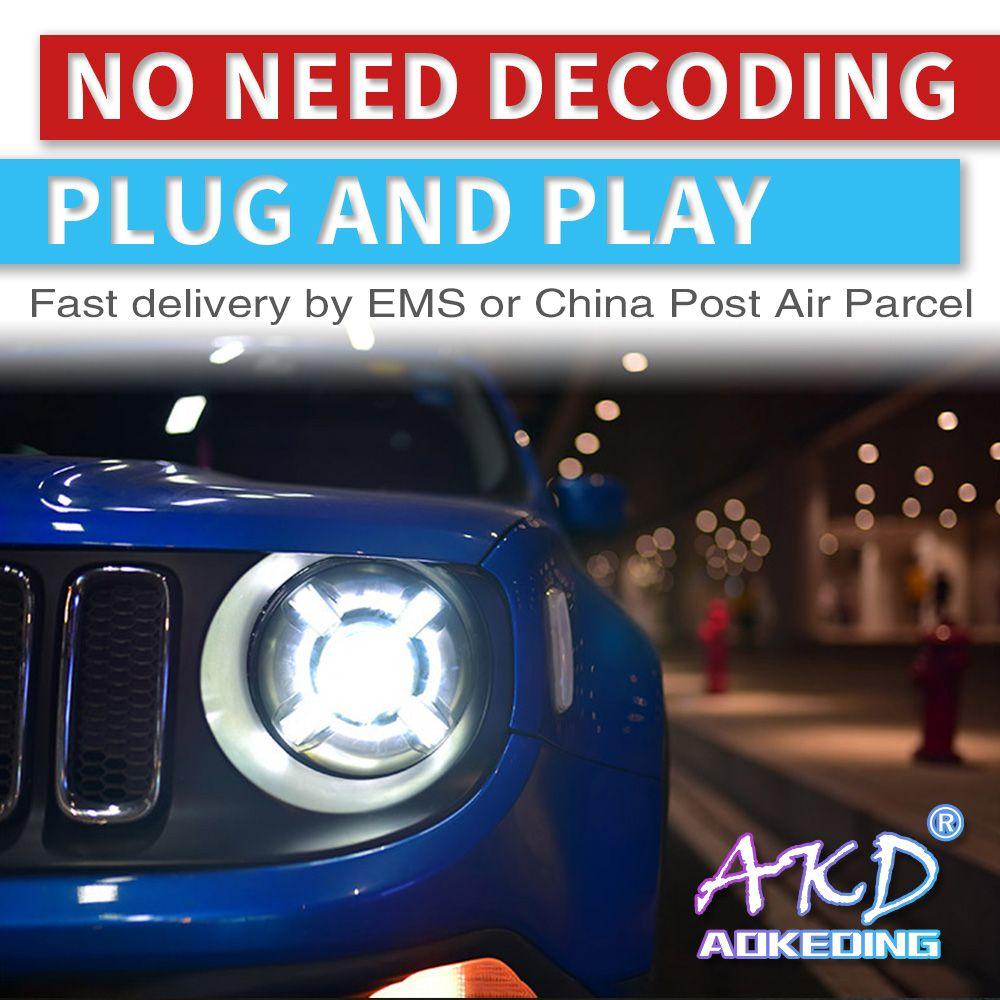 AKD tuning autos Scheinwerfer Für Jeep Renegade 2015-2018 Scheinwerfer LED DRL Lauf lichter Bi-Xenon Strahl Nebel lichter engel augen Auto
