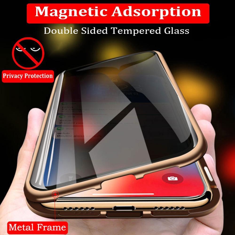 Confidentialité Verre Trempé Magnétique étui pour iphone XS MAX XR X 8 7plus Anti Peep Aimant En Métal Pare-chocs Complet Housse de Protection