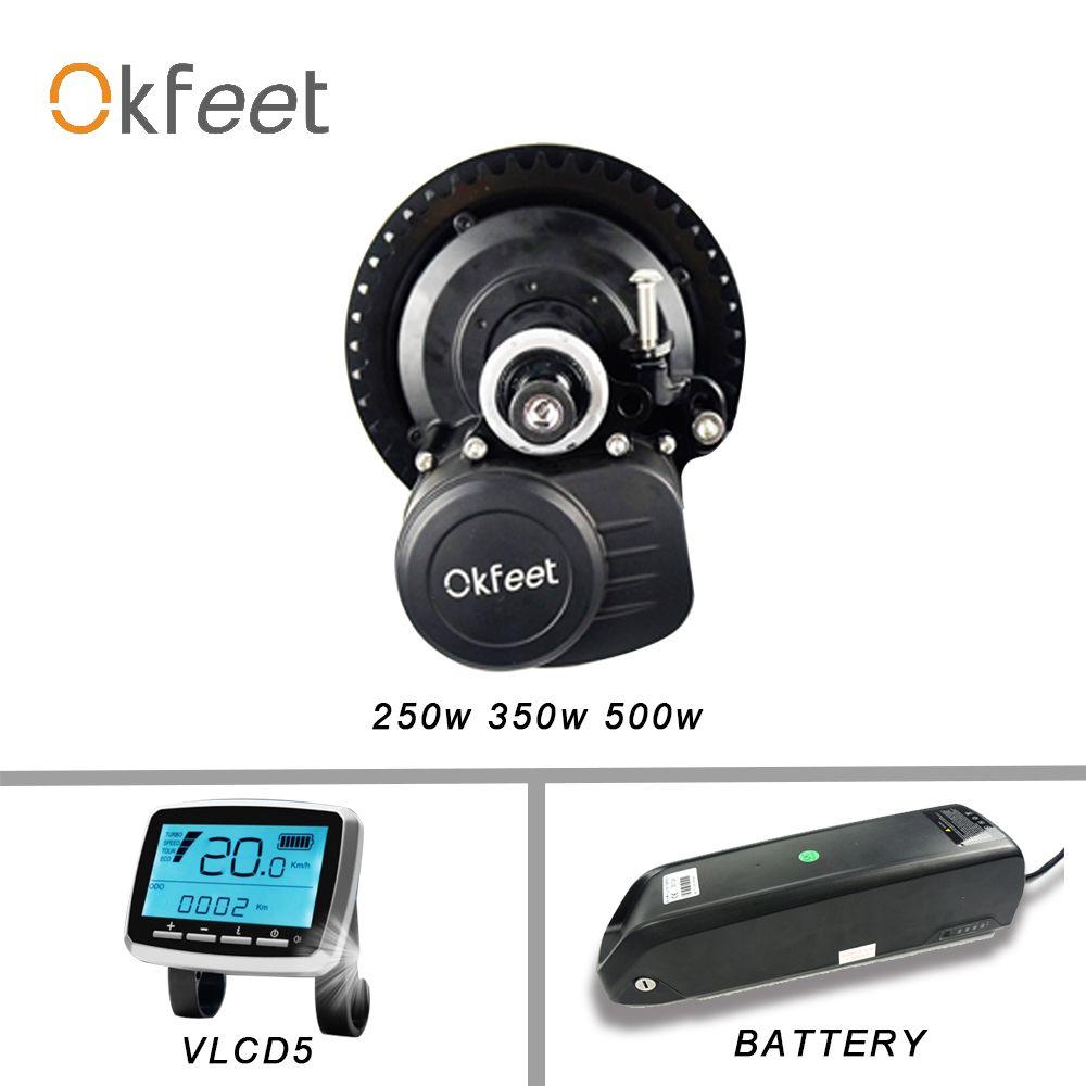 Okfeet TSDZ2 Midmotor 36V 48V 250W 350W 500W Elektrische Fahrrad Drehmoment Sensor Mid Drive Motor kit mit LCD Display