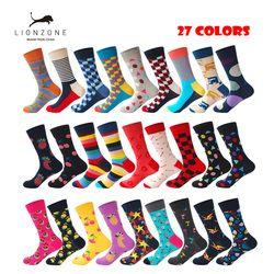 Brand Quality Mens Happy Socks 27Colors Striped Plaid Diamond Cherry Socks Men Combed Cotton Calcetines Largos Hombre