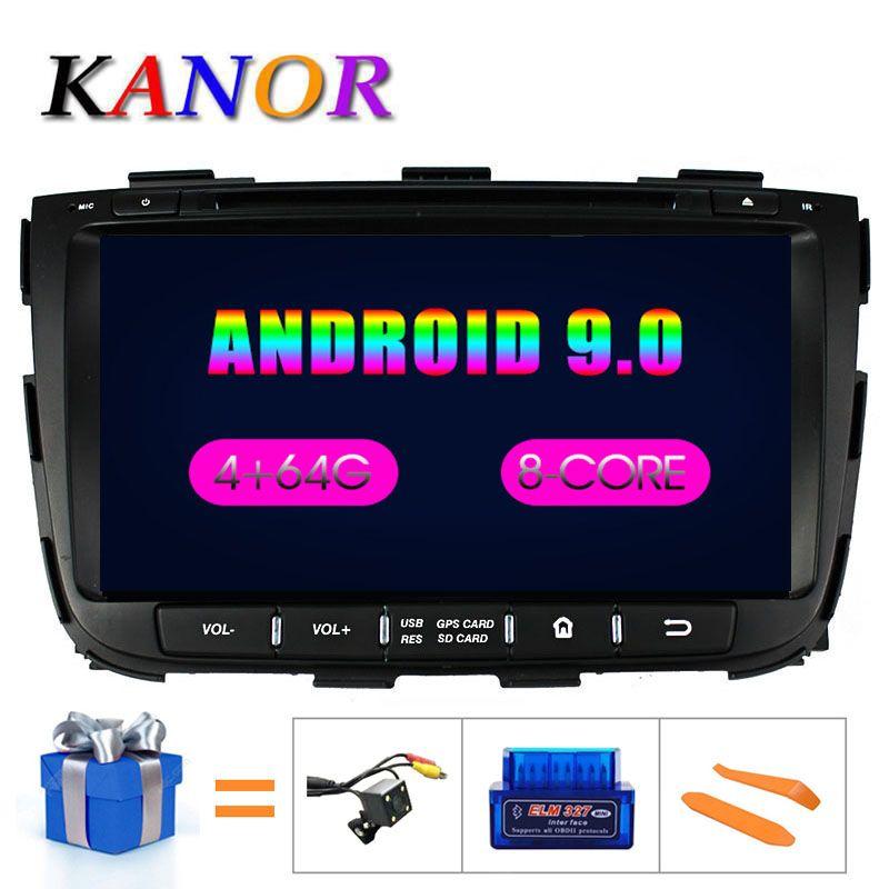 KANOR Octa Core IPS Android 9.0 RAM 4g 32g ROM 2 din autoradio pour KIA Sorento 2013 GPS Radio WIFI Bluetooth carte USB Audio