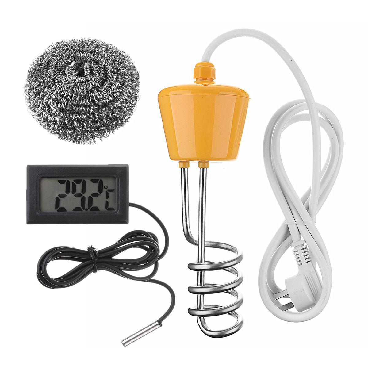 Élément de chauffage portatif de l'eau de chaudière de chauffage électrique de flottement de 2500W 220-250V salle de bains de Suspension d'immersion avec le thermomètre