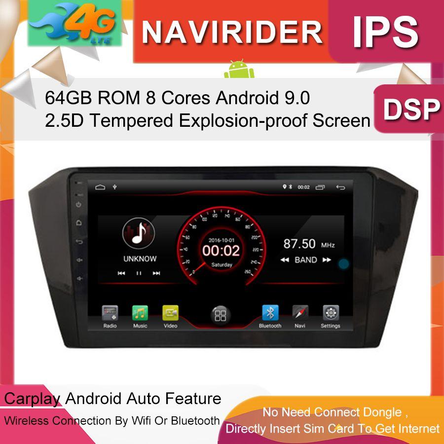 Auto-Multimedia-Player 10,2 inch IPS Bildschirm Monitor GPS band recorder Bluetooth Android 9.0 Für V W PASSAT B8 2016- 2017 Auto Audio