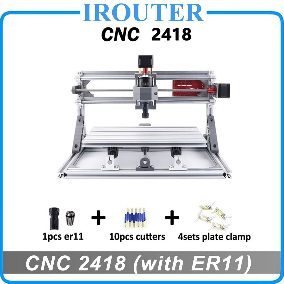 CNC 2418 avec ER11, bricolage mini CNC machine de gravure laser, fraiseuse Pcb, routeur de sculpture sur bois, CNC 2418, meilleurs jouets avancés