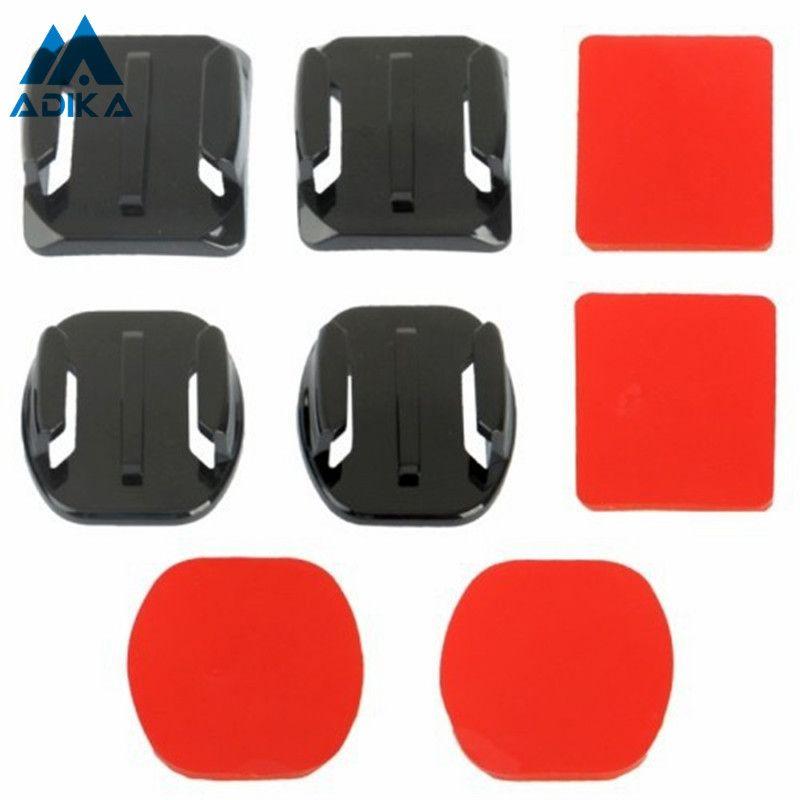 ADIKA 8 pièces courbe fixation Surface plate adaptateurs adhésif montage Pad autocollants support Pasters pour GoPro Hero 4 3 + 3 2 1 appareil photo