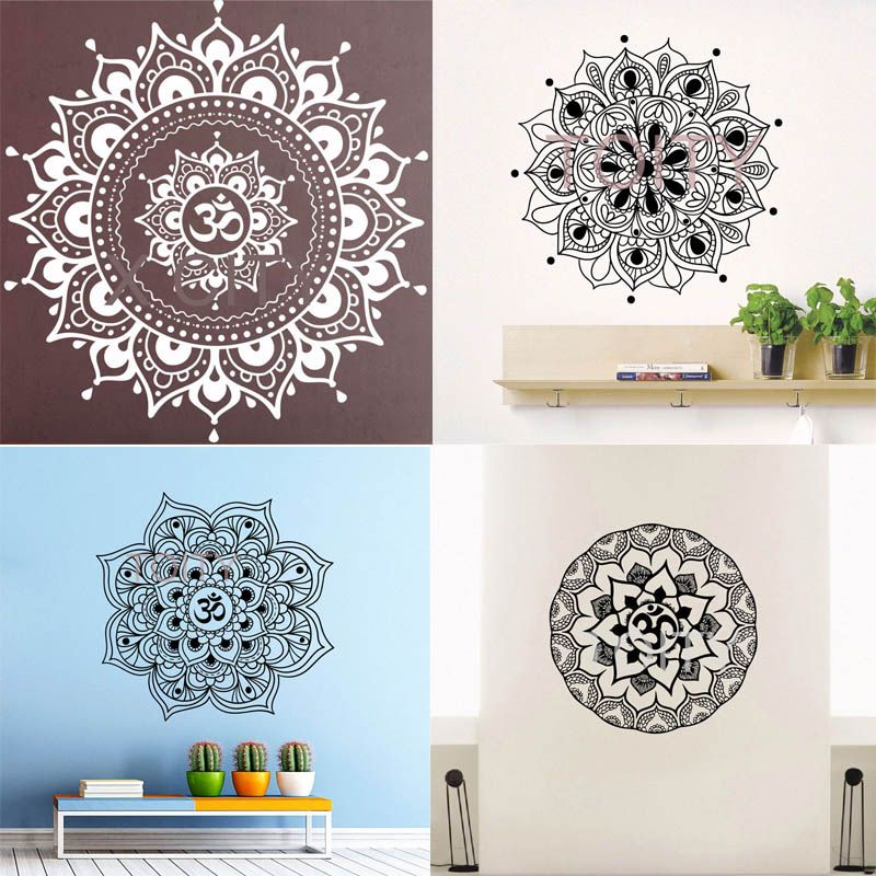 29 dessins Mandala Om signe Sticker Mural vinyle Art autocollant Yoga Studio Lotus méditation décor Mural