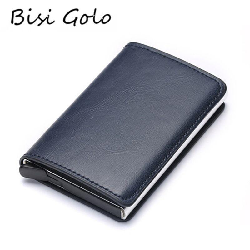 BISI GORO 2019 Credit Card Holder Men And Women Metal RFID Vintage Aluminium Box Crazy Horse PU Leather Fashion Card Wallet