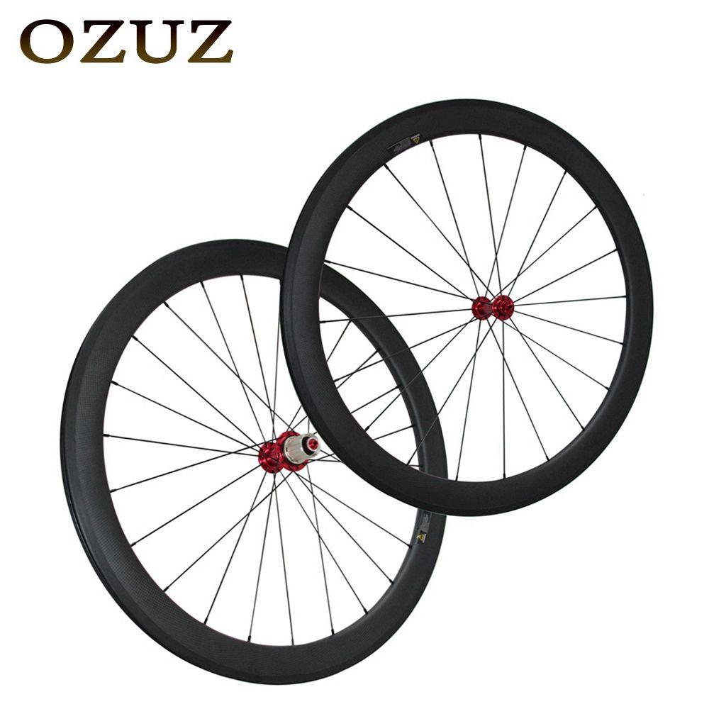 OZUZ Gerade Speichen 38mm 50mm 88mm Vorne Hinten Carbon Road Räder 700c 3K Webart Matte Glänzend in Fahrrad Rad Klammer Tubular