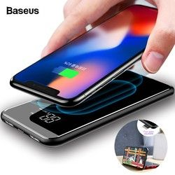 BASEUS Portable Qi Wireless Charger Power Bank untuk iPhone 11 Xiao Mi Mi 8000 MAh Baterai Eksternal Nirkabel Cepat Pengisian powerbank