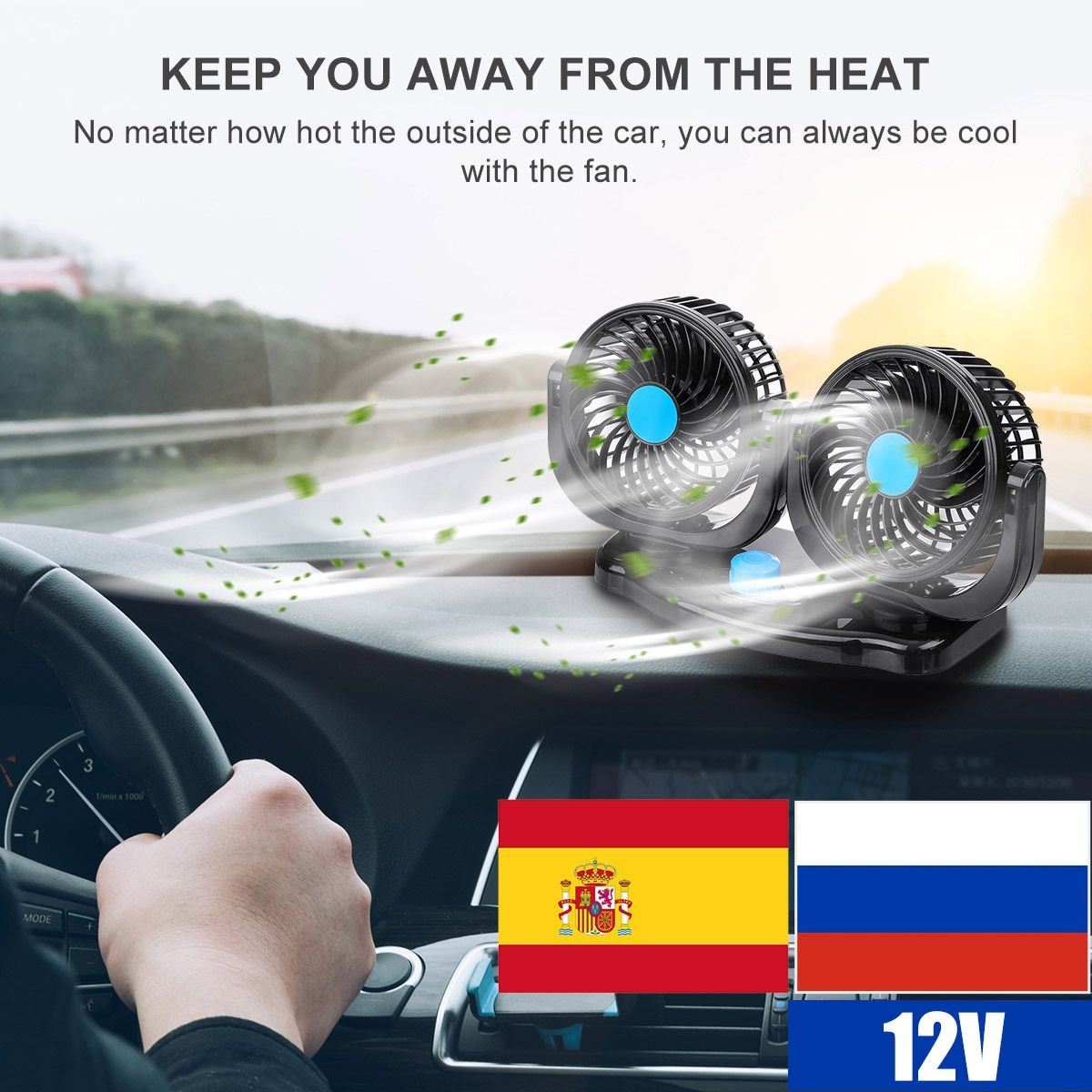 12V 24V 360 Degree All-Round Adjustable Car Auto Air Cooling Dual Head Fan Low Noise Car Auto Cooler Air Fan Car Fan Accessories