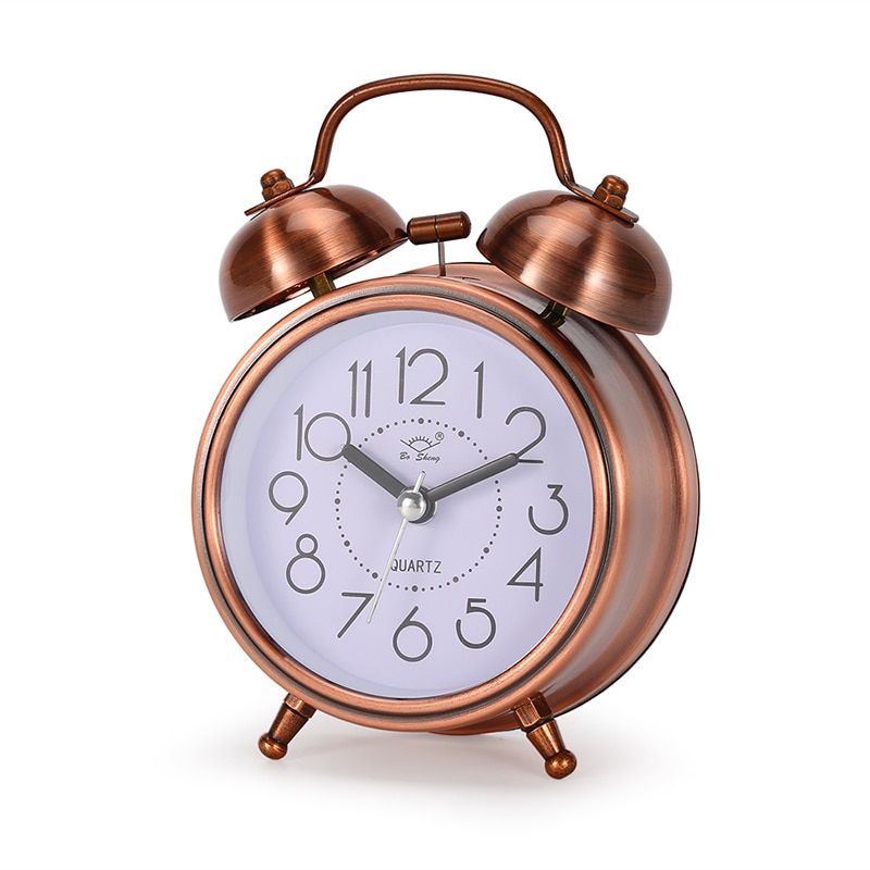 Hot Sale Creative retro alarm clock antique bronze round clock Dual Bell Loud Alarm Clock Bedside Night Light Home Decors Gift