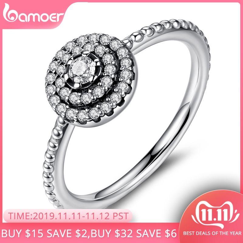 BAMOER 925 en argent Sterling forme ronde élégance rayonnante, clair CZ fleur doigt anneaux pour femmes anniversaire vente 2019 PA7178