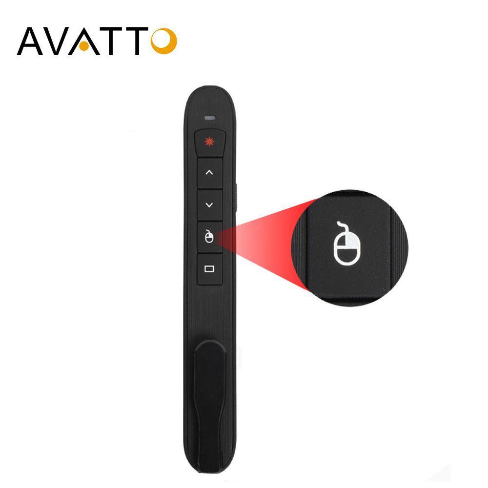 AVATTO rechargeable 2.4G sans fil laser pointeur de présentation avec souris à Air, PowerPoint présentateur télécommande PPT Clicker Pen