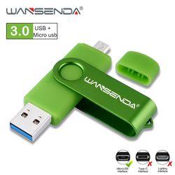 WANSENDA OTG USB Flash Drive USB 3.0 High SPeed Pen Drive 8GB 16GB 32GB 64GB 128GB Pendrive Micro USB Stick Flash Memory Disk