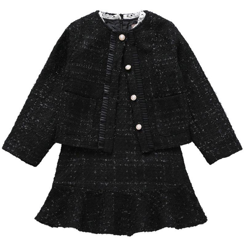 3 à 12 ans enfants & grandes filles bouton nacré automne hiver veste avec manches longues flare robe deux pièces ensembles ensemble de vêtements
