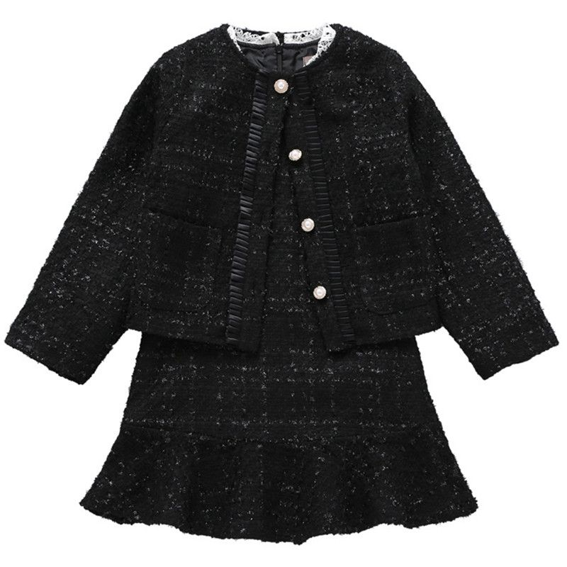 3 to 12 years kids & big girls pearled button fall winter jacket with long sleeve flare dress two pieces sets clothing set