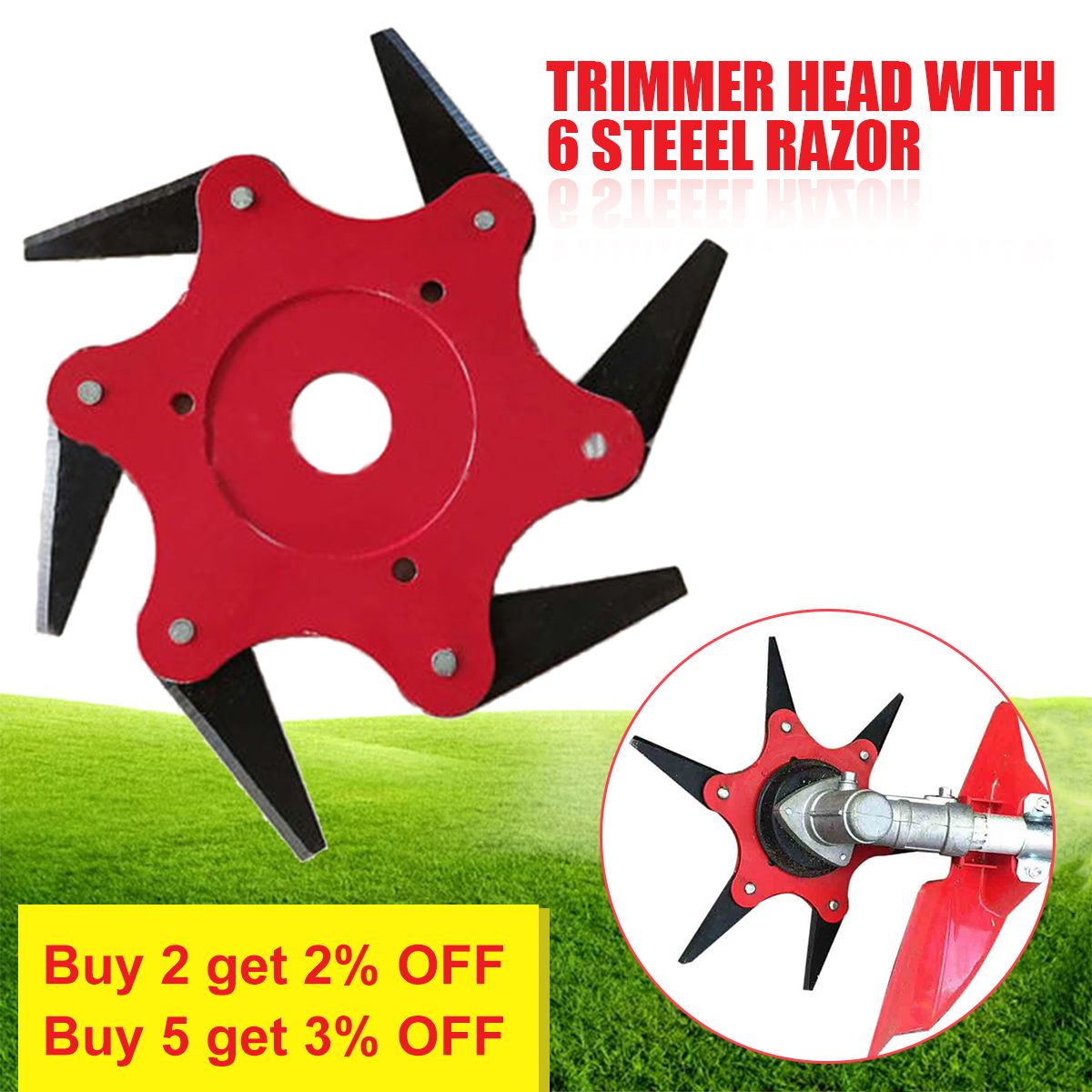 Grass Trimmer Head 6 Blades 65Mn Brush Cutter Weed Brush Cutting Head Easy Cutting Garden Power Tool Accessories