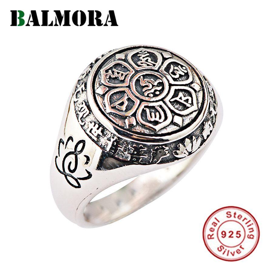 BALMORA Real 925 argent Sterling bouddhisme rétro Spinner empilage anneaux pour femmes hommes Couple Six mots Mantra bijoux de mode