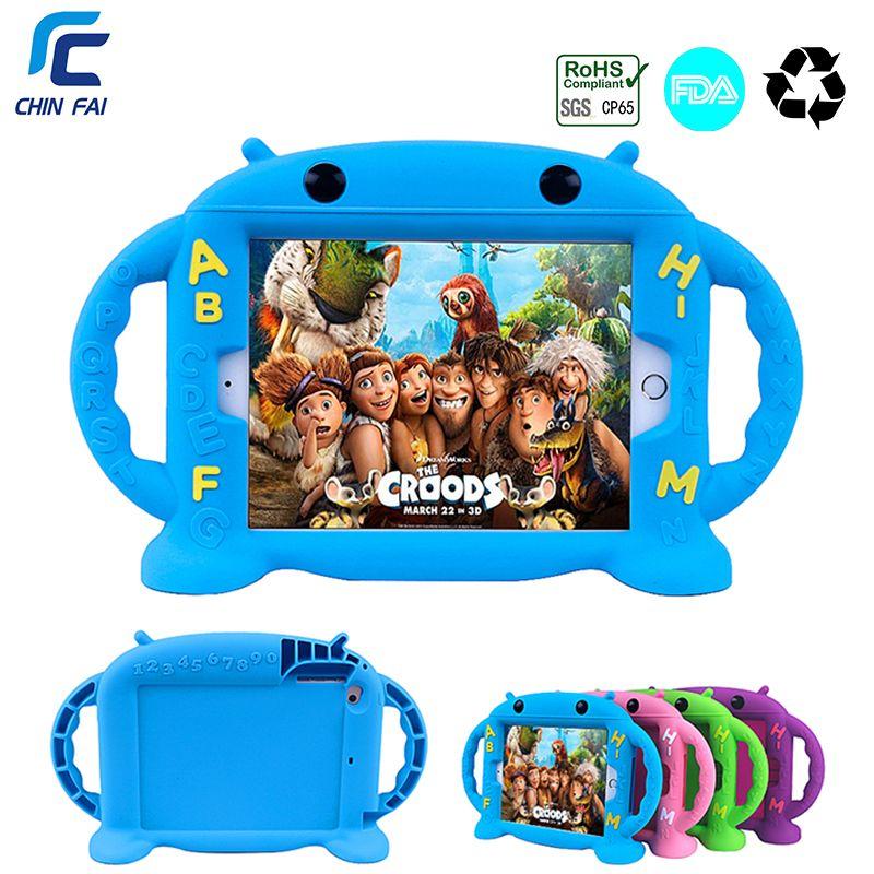 Étui pour iPad antichoc CHINFAI Mini 1 2 3 4 poignées souples pour enfants support coque en silicone Non toxique pour iPad mini 4 7.9 ''tablette